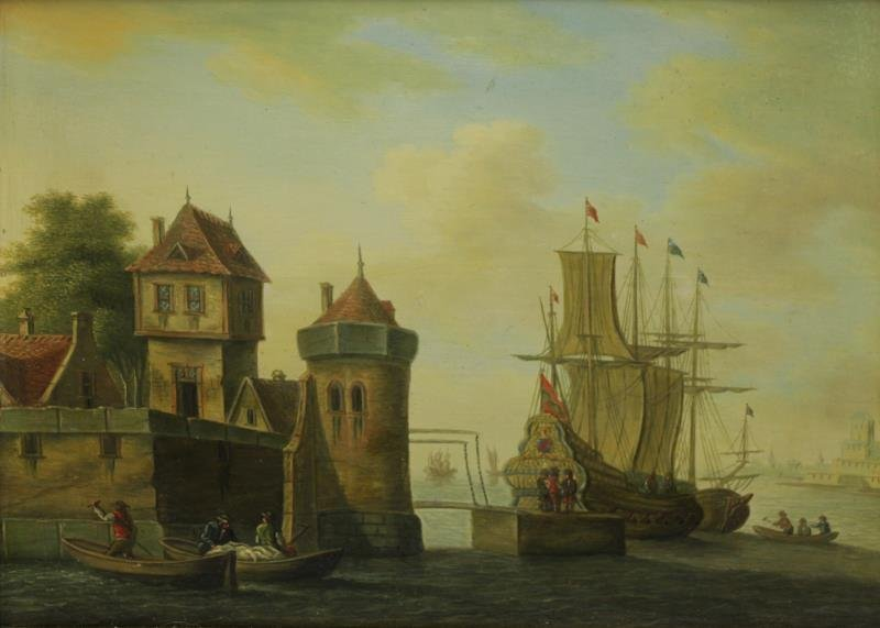 19th C. Oil on Wood Panel. Ships in Dutch Harbor.