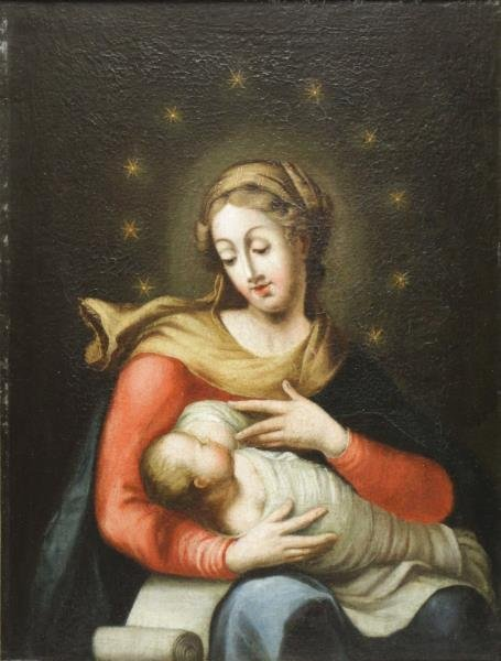 18th (?) C. Oil on Canvas. Madonna and Child.
