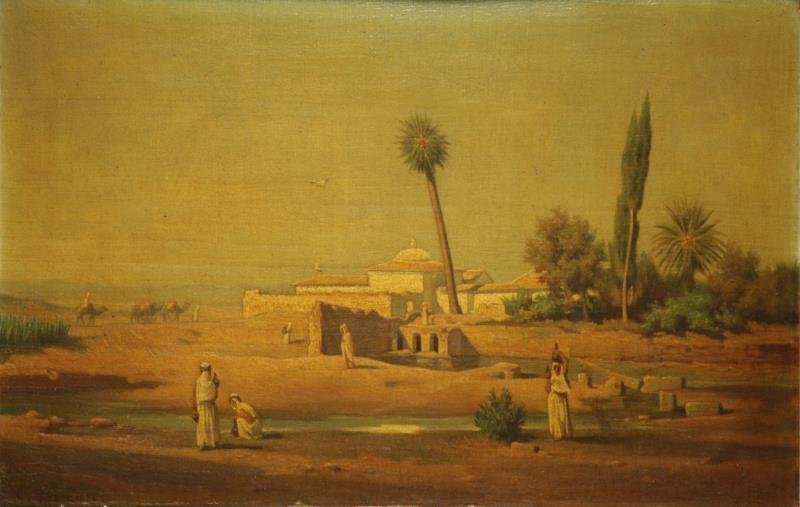 BRUN, Guillaume Charles. Oil on Wood Panel. Orientalist