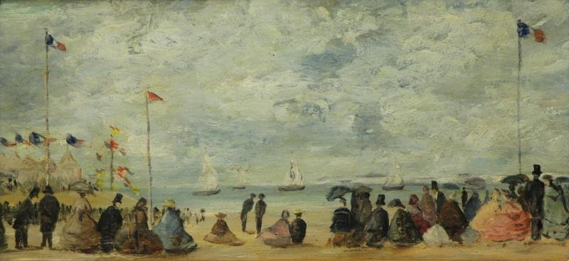 French Impressionist Oil on Wood Panel Beach Scene