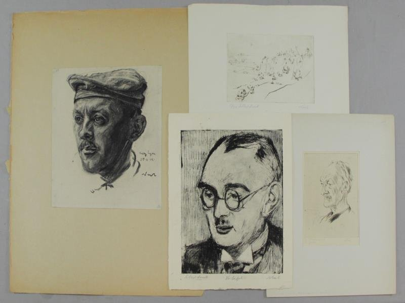 NESCH, Rolf. 4 Works Incl. 1 Charcoal & 3 Etchings