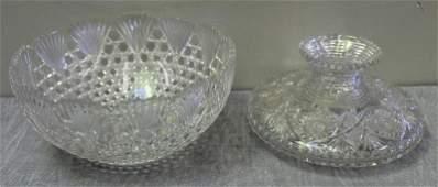Antique Fine Cut Punch Crystal Bowl & Vase.