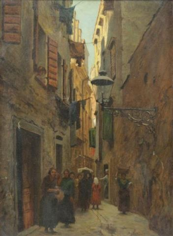 NADLER, Robert. Oil on Canvas. European Street