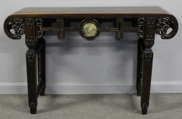 Chinese Carved Hardwood Altar Table with Marble