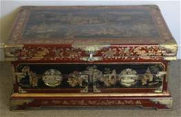 Chinese Red Lacquer Trunk.