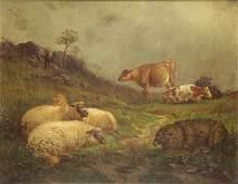 WIGGINS, J. Carleton. Oil on Canvas. Sheep and