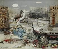 CALOGERO, Jean. OIl on Canvas. Surrearist Venetian