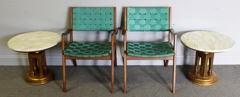 Pair of Midcentury Strap Chairs and Side Tables.
