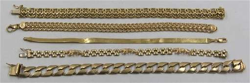 JEWELRY 14kt and 18kt Gold Bracelet Grouping
