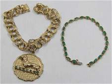 JEWELRY. 14kt Gold and Emerald Jewelry Grouping.