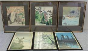 6 Signed Framed Asian Woodblock Prints.