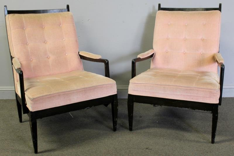 Midcentury Pair of High Back Arm Chairs.