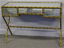 Modern Faux Patinated Bamboo and Mirrored Desk