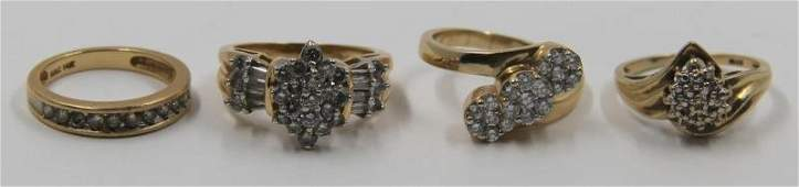 JEWELRY. Gold and Diamond Ring Grouping.