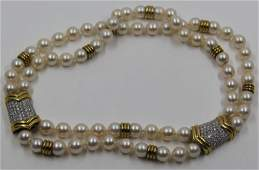 JEWELRY. 18kt Gold and Pearl Necklace.