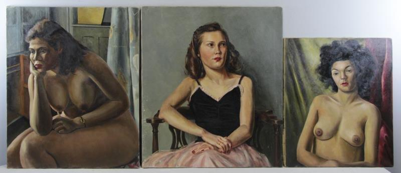 WENDELL, Raymond. 3 Oil on Canvas Portraits of