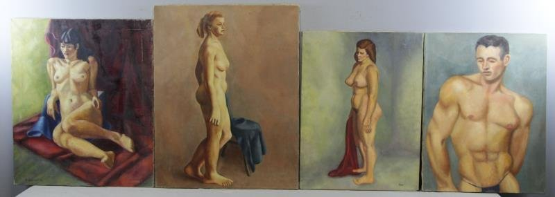 WENDELL, Raymond. 4 Oil on Canvas Portraits of