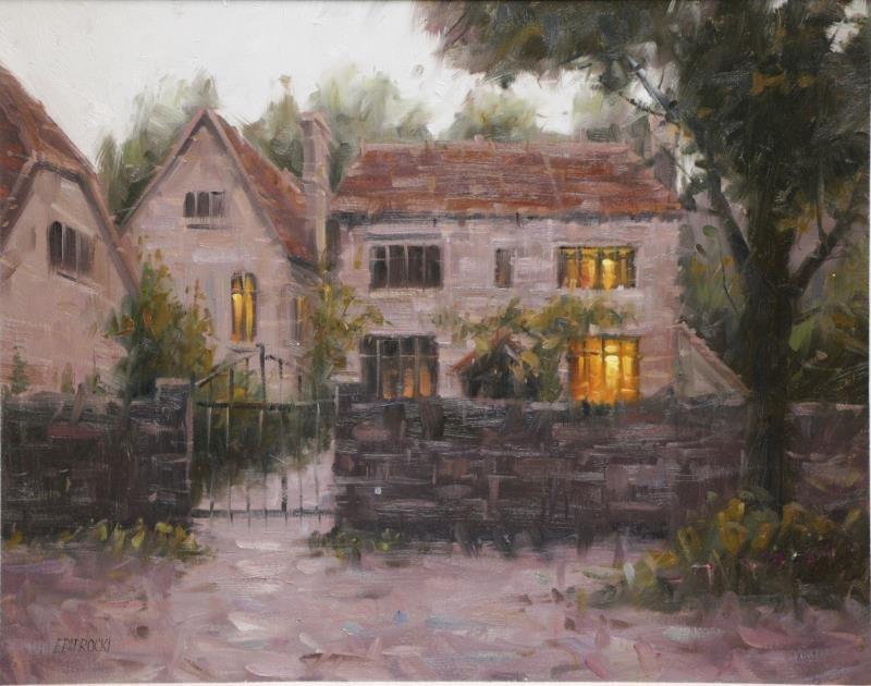 """PAPROCKI, Eugene. Oil on Canvas """"Dusk, Old Basing,"""