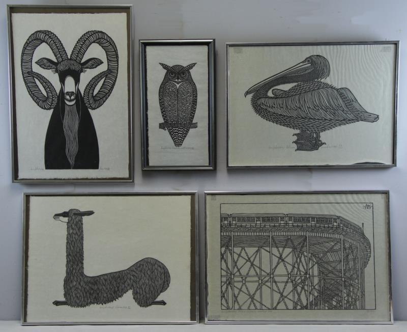 HNIZDOVSKY, Jacques. 5 Signed Woodcuts.