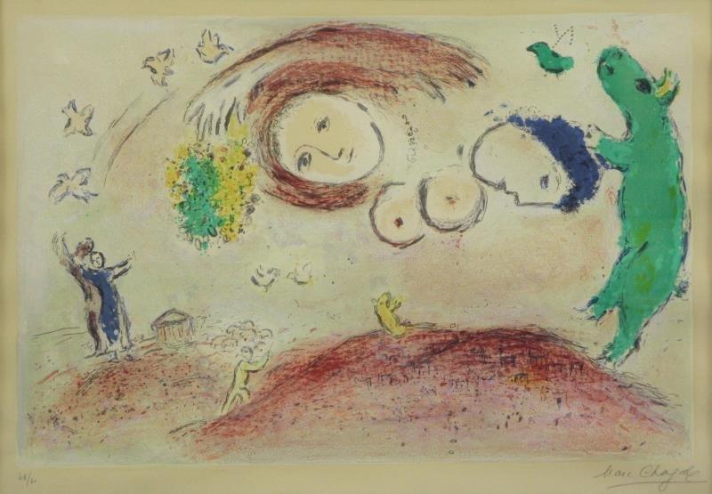"""CHAGALL, Marc. Lithograph """"Printemps au Pré"""" 1961."""