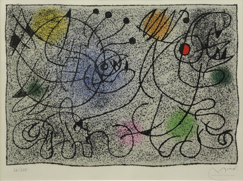 "MIRO, Joan. Color Lithograph ""International Rescue"