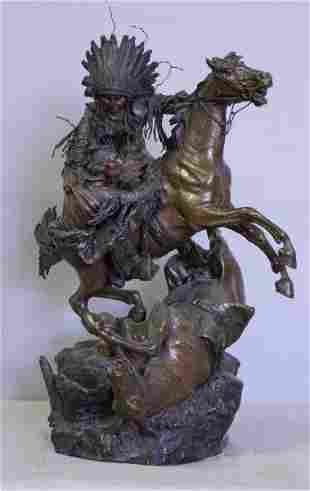"KAUBA, Carl. Bronze Sculpture ""A Friend in Need""."