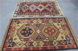 Lot Of 2 Vintage Handmade Throw Rugs