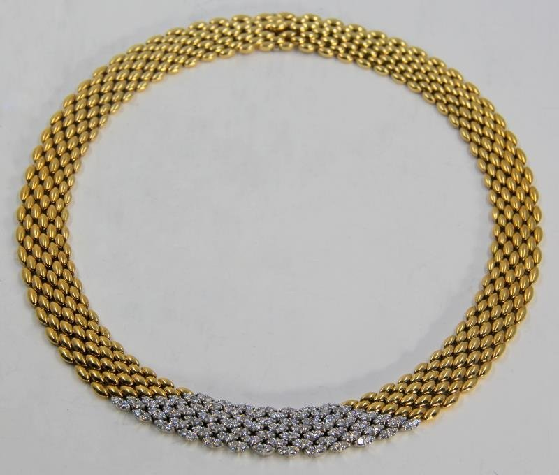 JEWELRY. 18kt Gold and Diamond Necklace.