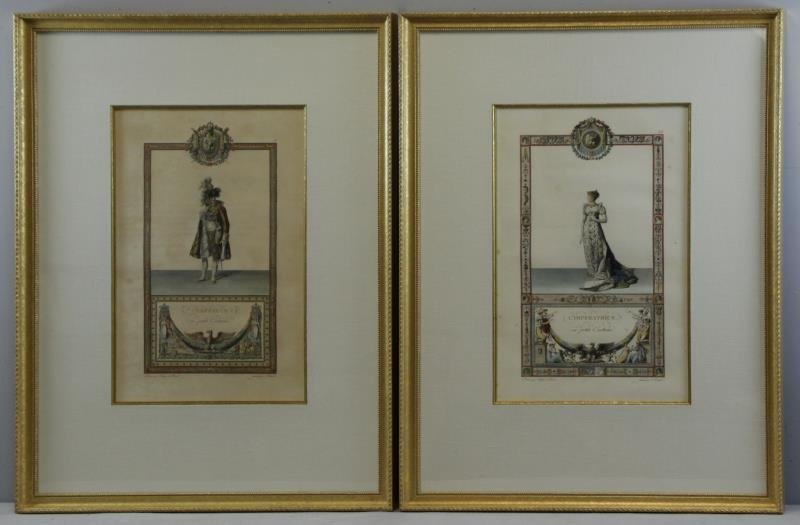 Pair of Napoleonic Hand Colored Engravings.