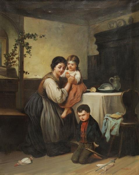 WALTER, J. 19th C. Oil on Canvas. Mother with