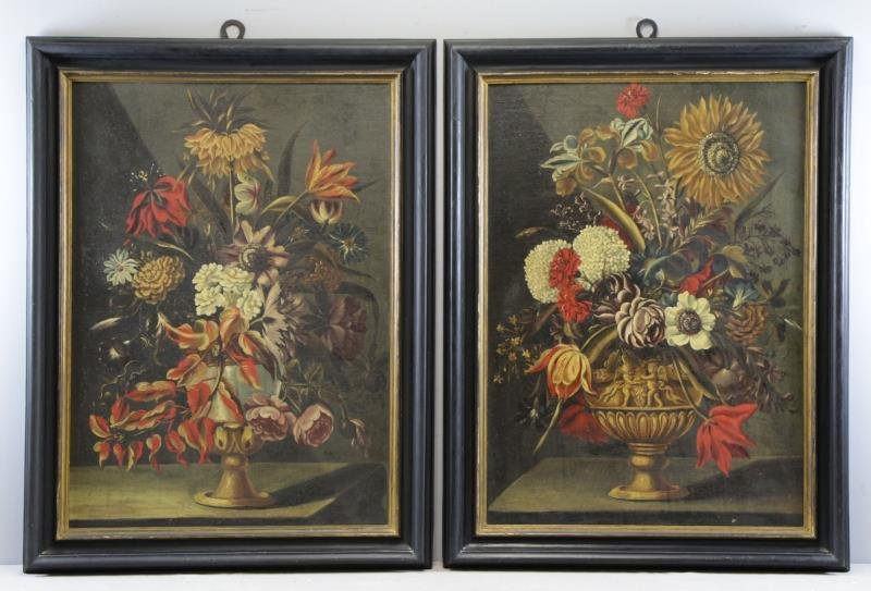 Pair of 18/19th C. Oil on Canvas Floral Still