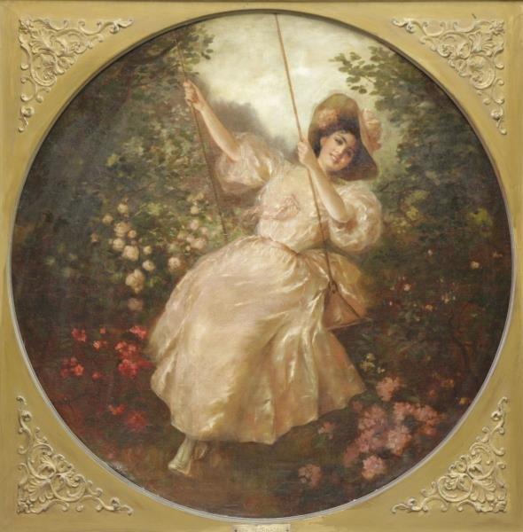 RECKNAGEL, Theodor. Oil on Canvas. Beauty on Swing