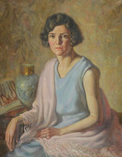 HALL, A.E. Oil on Canvas. Portrait of a Woman,