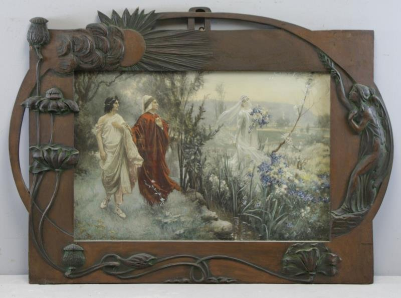 Art Nouveau Hand Carved and Painted Wood Frame.