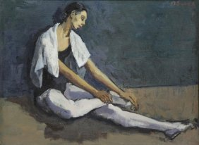 Soyer, Moses. Oil On Canvas. Dancer Resting.