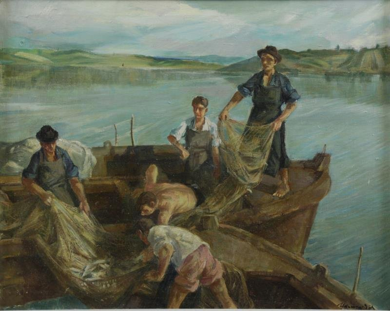 UDVARY, Pal. Oil on Canvas of Fisherman.