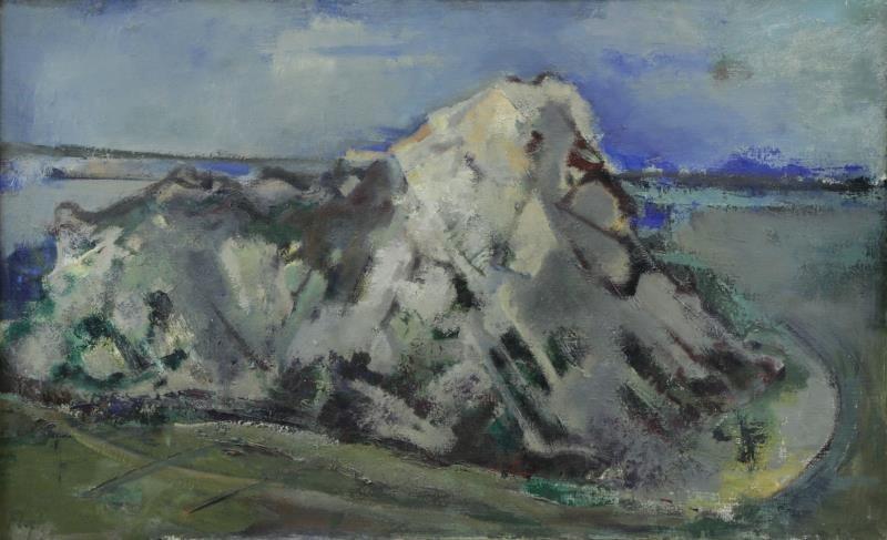 "FLOCH, Joseph. Oil on Canvas. ""Rock Near the Sea"""