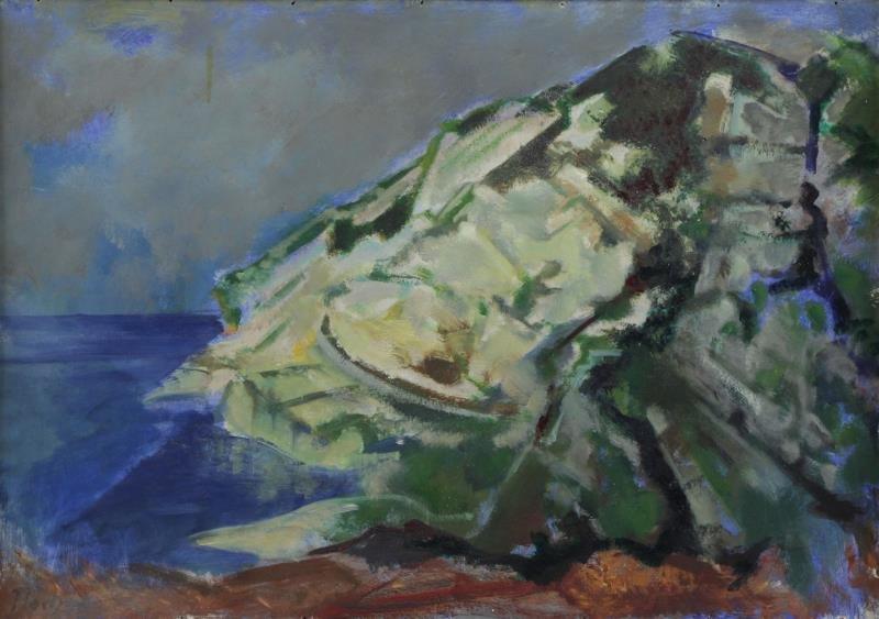 """FLOCH, Joseph. Oil on Board. """"The Rock Near San"""