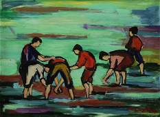 BUGZESTER, Maxim. Oil on Board. Clam Diggers.