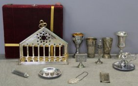 Judaica. Miscellaneous Grouping Of Silver Items.