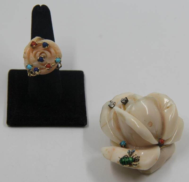 JEWELRY. Angel Skin Coral Pendant and Ring.