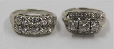 JEWELRY. 14kt Gold and Diamond Ring Grouping.