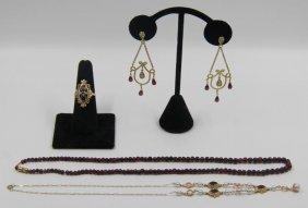 Jewelry. Assorted Garnet Jewelry Grouping.