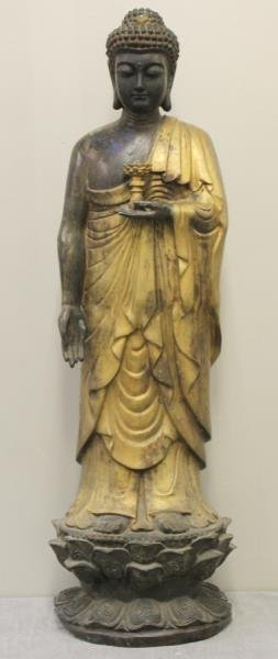 Large Antique Patinated and Gilt Bronze Figure