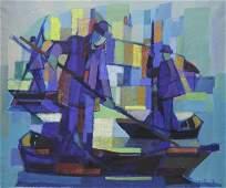 "CHEVOLLEAU, Jean. Oil on Canvas. ""Les Barques Au"