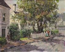 MOSHER Donald Oil on Canvas Street Scene