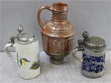 Antique German Stoneware Lot of 3 Pieces