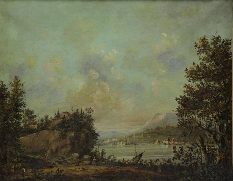 19th C. Oil on Canvas. European Landscape with