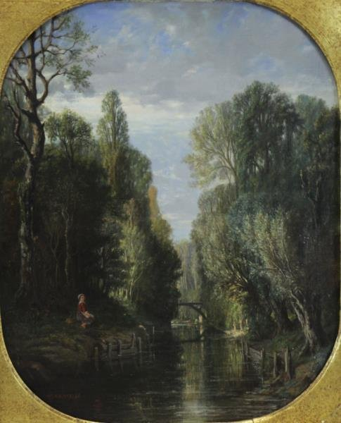 DAULNOY, Victor. Oil on Canvas. River with