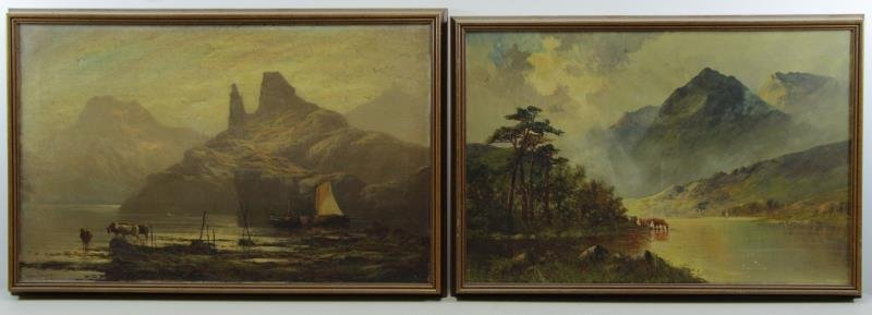 Two 19th C. Oil on Canvas Landscapes with Cows.